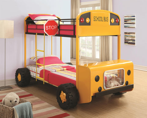Twin Over Twin Kids School Bus Bunk Bed