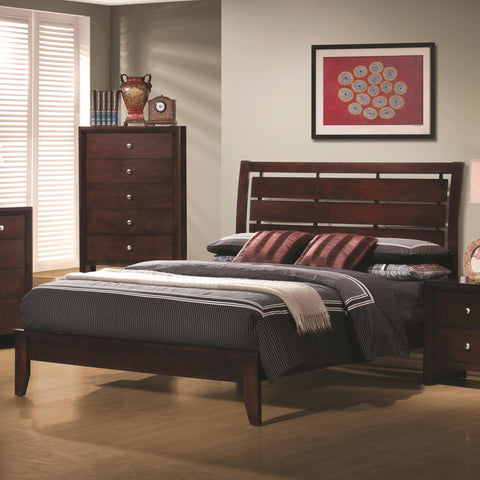 Serenity Twin/Full Platform Style Bed with Cut-Out Headboard Design