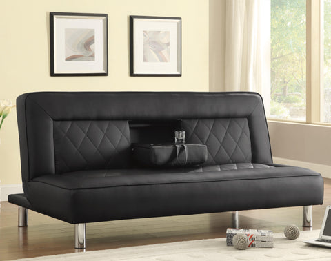Sofa Bed in Black Leatherette with Drop Console & Cup Holders