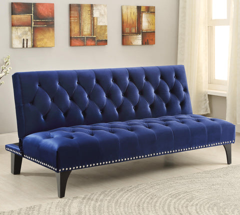 Transitional Sofa Bed with Velvet Upholstery & Nailhead Trim