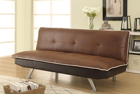 Retro Brown Coated Microfiber Sofa Bed with Tufting