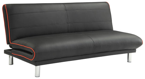 Sofa Bed in Black Leatherette with Red Trim