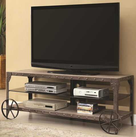 Rustic Media Console with Wagon Wheel Detail