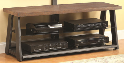 Transitional Media Console with Black Glass Shelves
