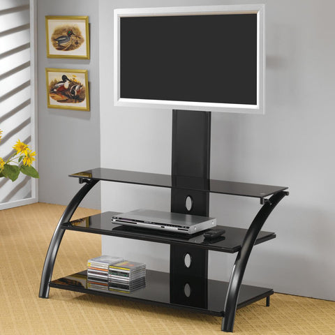 Casual Contemporary Metal Media Console with Bracket