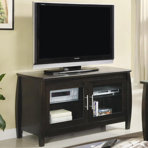Contemporary Media Console with Glass Doors