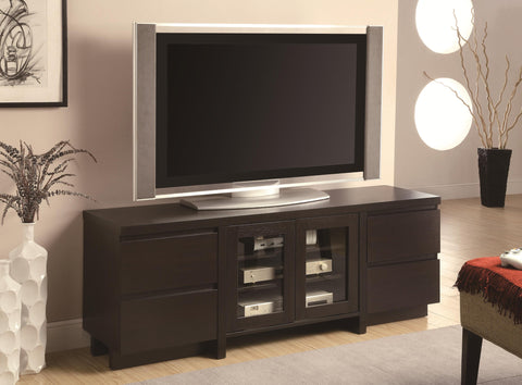 Contemporary TV Console with 4 Drawers & 2 Glass Doors