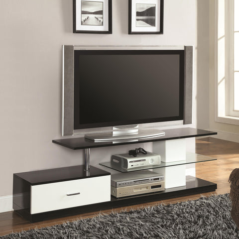 Black, Silver and White TV Stand with Drawer and Glass Shelf