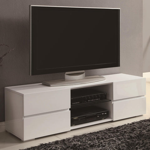 High Gloss White TV Stand with Glass Shelf