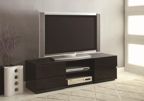 High Gloss Black/White TV Stand with Glass Shelf