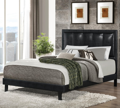 Upholstered Beds Full Granados Upholstered Bed with Black Leatherette