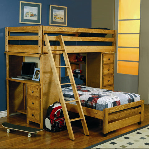 Wrangle Hill Twin Over Twin Loft Bed with Built-In Desk