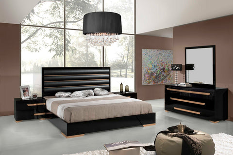 Modrest Romeo Italian Modern Black & Rosegold Bedroom Set