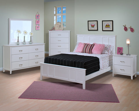 Santa Barbara Youth Panel Bedroom Set in White Finish