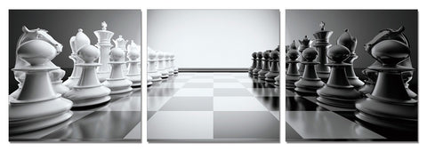 Chess 3-Panel Acrylic Painting