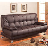Futon Faux Leather Convertible Sofa Bed with Removable Armrests