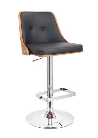 Hank Modern Black & Wood Bar Stool