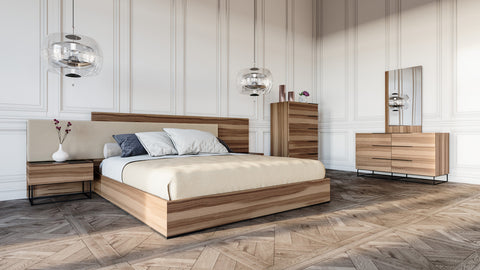Queen Nova Domus Matteo Italian Modern Walnut & Fabric Bedroom Set
