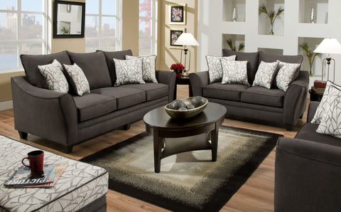 Flannel Sofa and Loveseat w/ Pillows