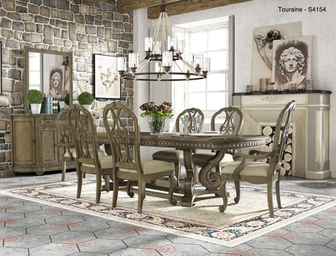 7 Piece Dining Set - Classic Touraine Pecan with Upholstered Chairs