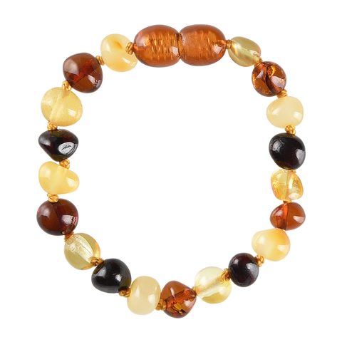Baltic Amber Baby Bracelet - Polished Multicolored