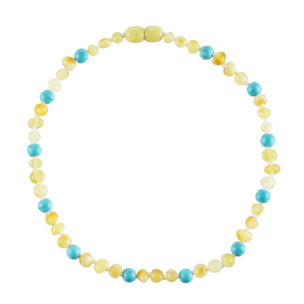Baltic Amber Baby Necklace - Polished Butter + Turquoise
