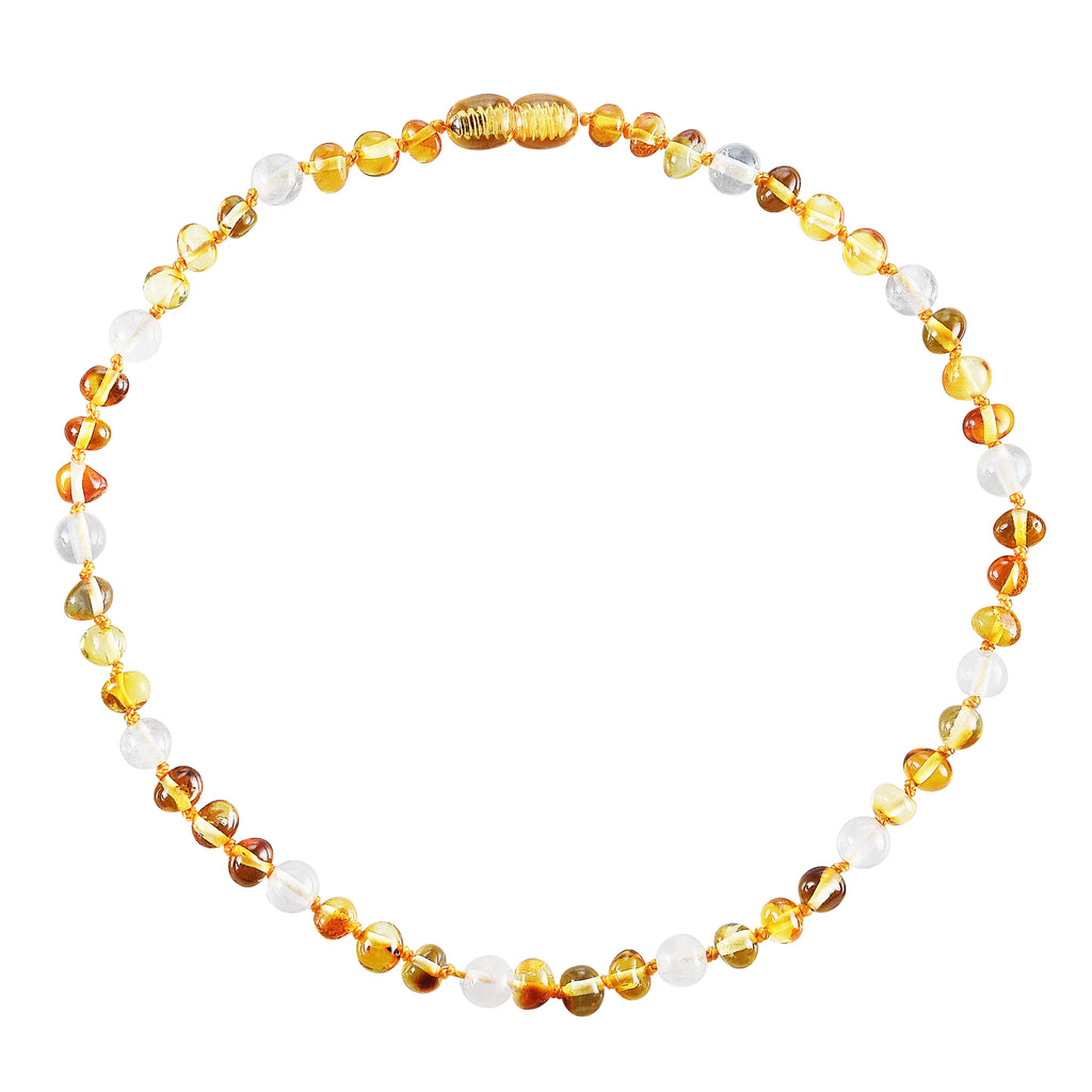 Baltic Amber Baby Necklace - Polished Honey + Rose Quartz