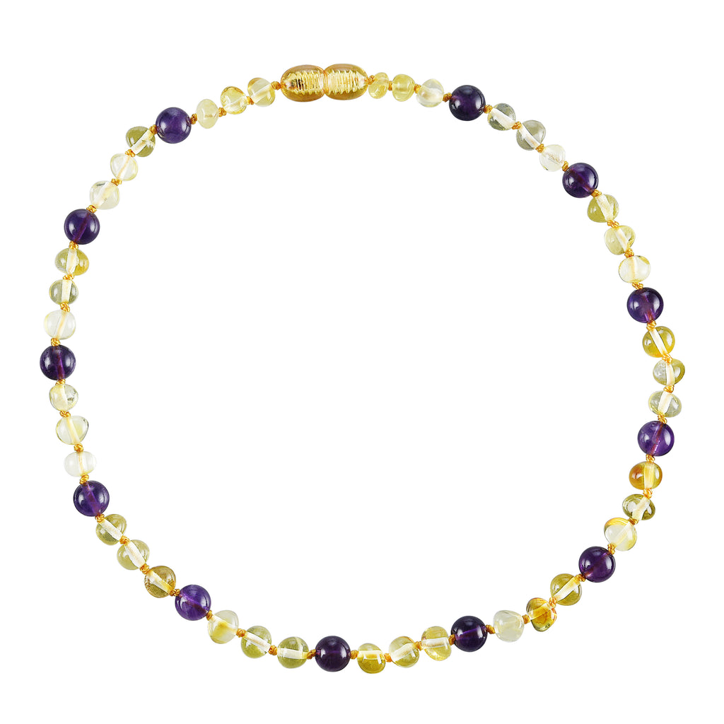 Baltic Amber Baby Necklace - Polished Lemon + Amethyst