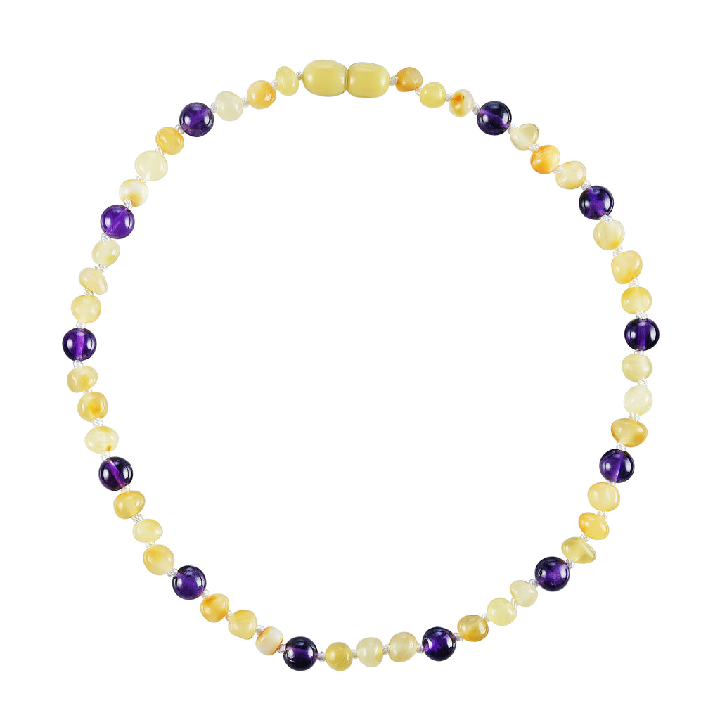 Baltic Amber Baby Necklace - Polished Butter + Amethyst