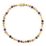 Baltic Amber Baby Necklace - Polished Honey + Amethyst