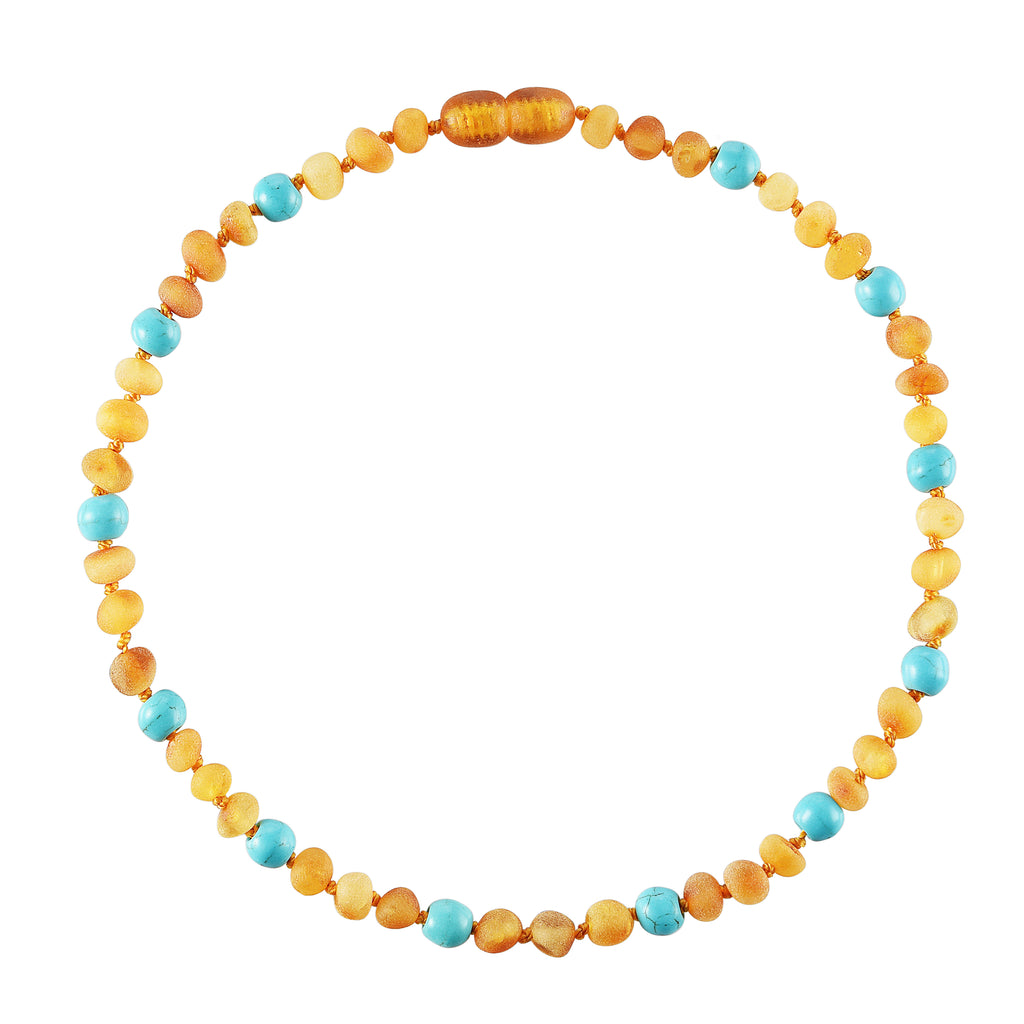 Baltic Amber Baby Necklace - Raw Honey + Turquoise