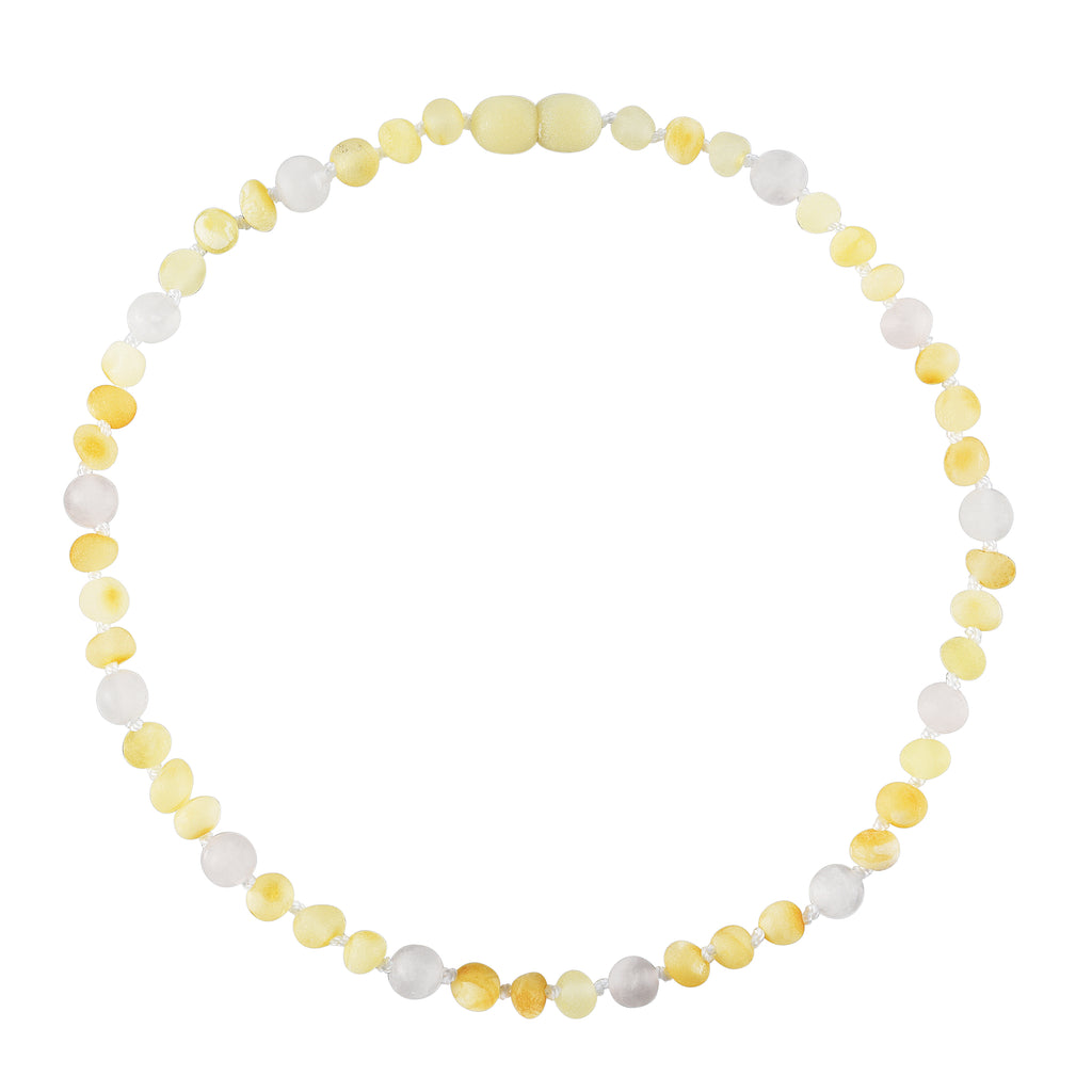 Baltic Amber Baby Necklace - Raw Butter + Rose Quartz