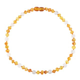 Baltic Amber Baby Necklace - Raw Honey + Rose Quartz