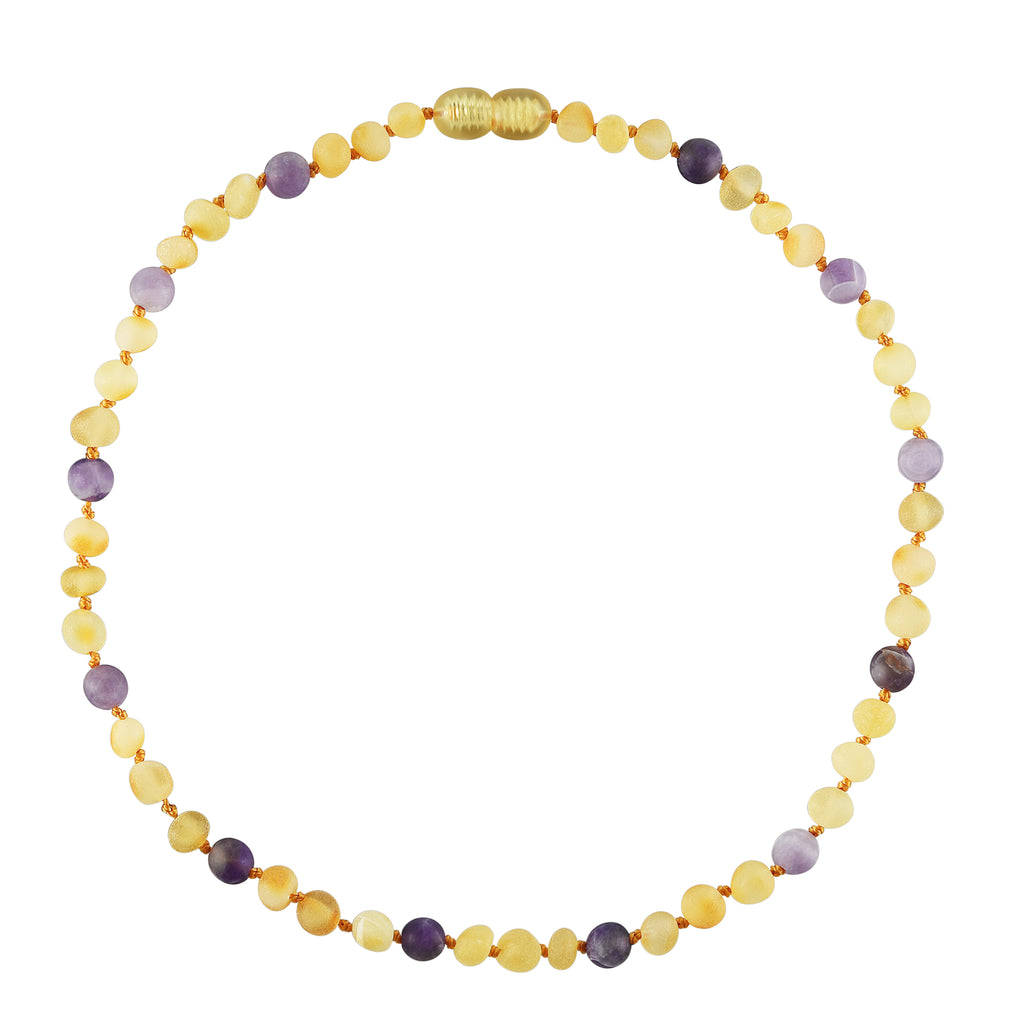 Baltic Amber Baby Necklace - Raw Lemon + Amethyst
