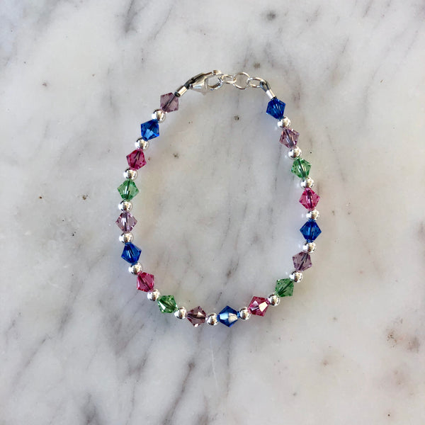 Birthstone Collection - Custom Sterling Silver Every Other Bracelet