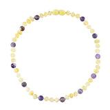 Baltic Amber Baby Necklace - Raw Butter + Amethyst