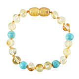 Baltic Amber Baby Bracelet - Polished Lemon + Turquoise