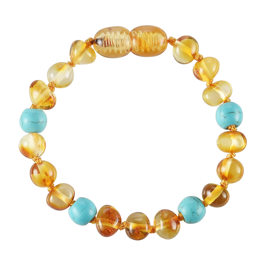 Baltic Amber Baby Bracelet - Polished Honey + Turquoise