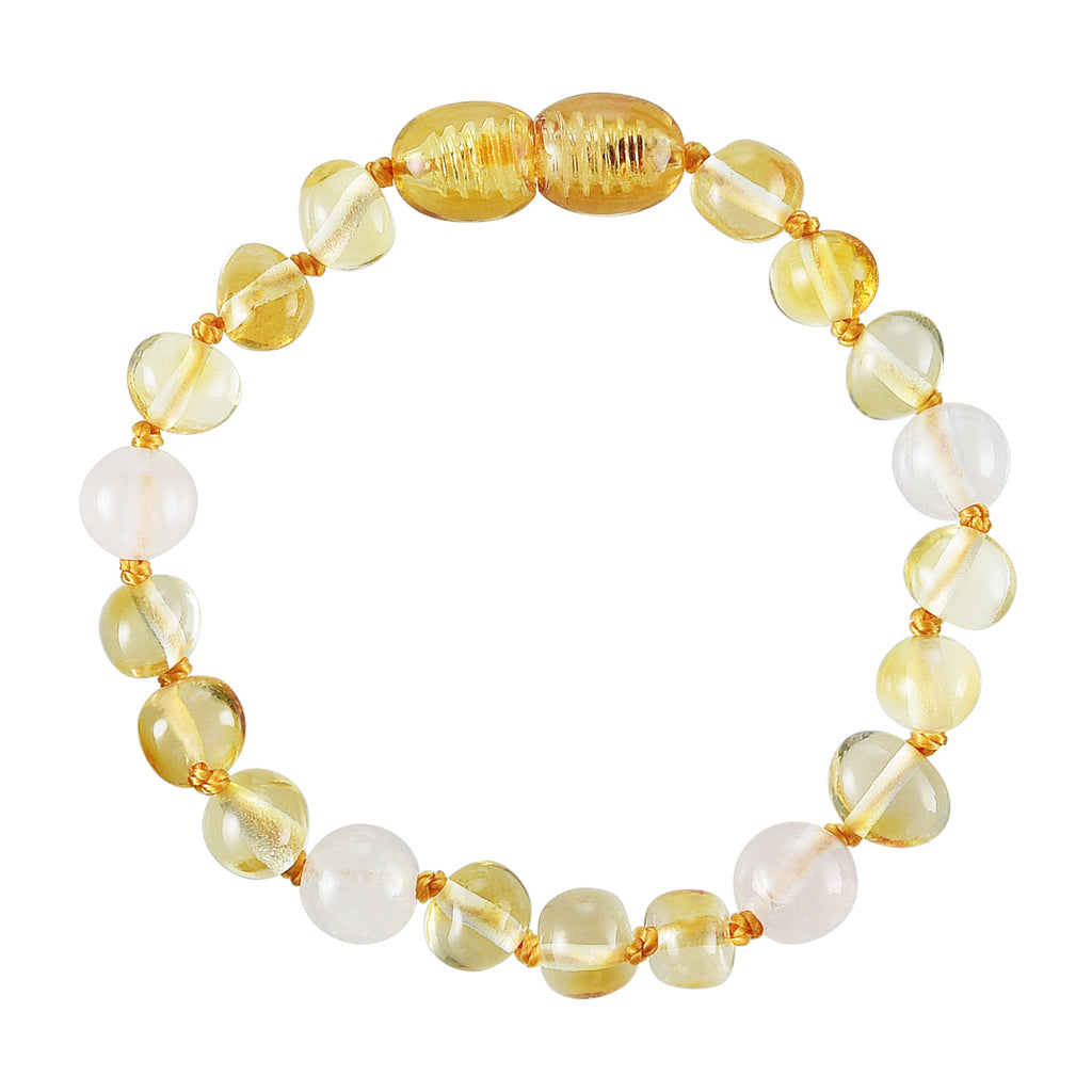 Baltic Amber Baby Bracelet - Polished Lemon + Rose Quartz