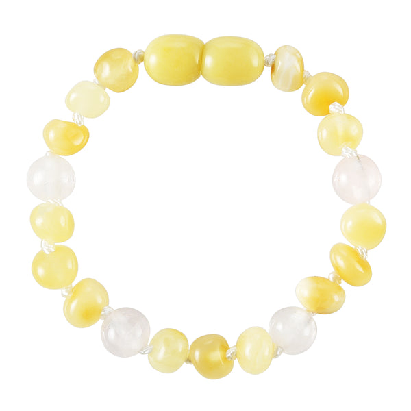 Baltic Amber Baby Bracelet - Polished Butter + Rose Quartz