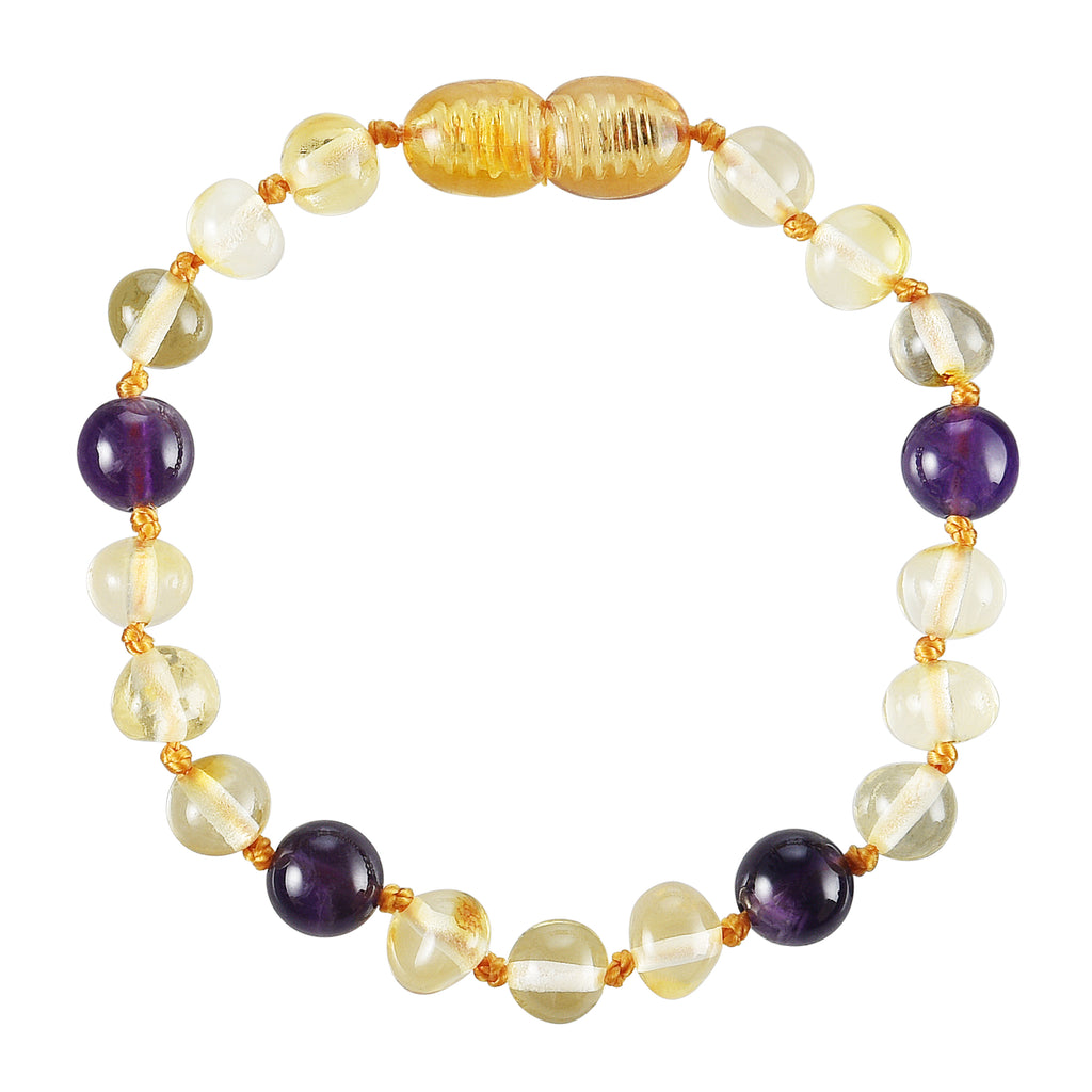 Baltic Amber Baby Bracelet - Polished Lemon + Amethyst