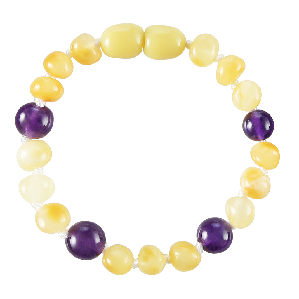 Baltic Amber Baby Bracelet - Polished Butter + Amethyst