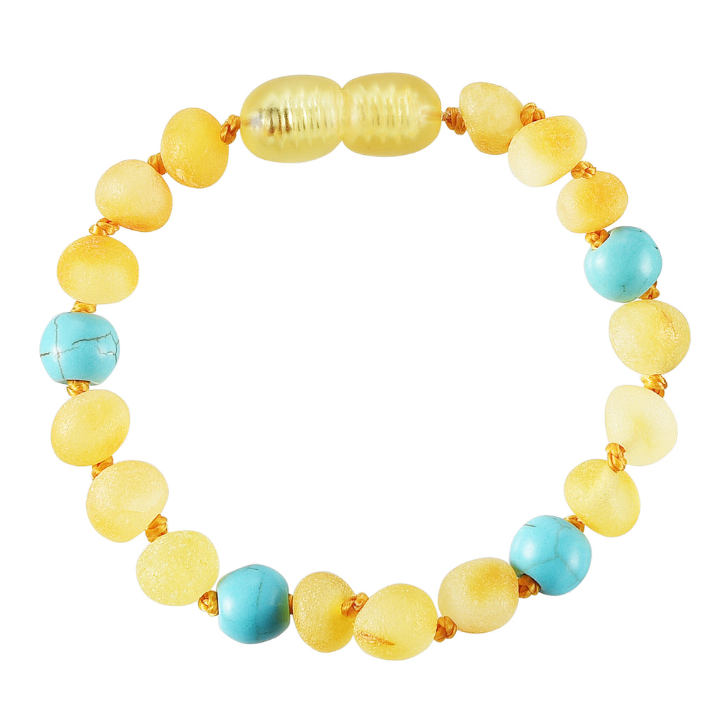 Baltic Amber Baby Bracelet - Raw Lemon + Turquoise