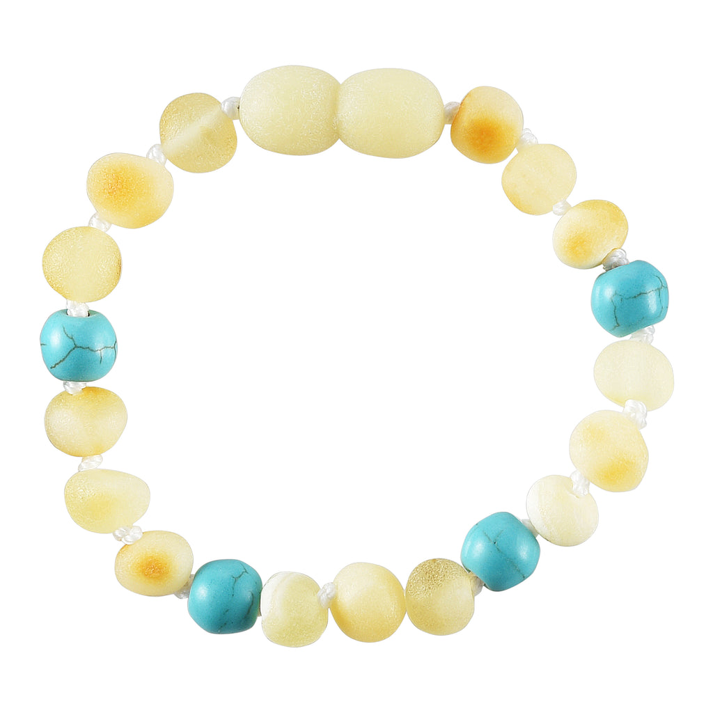 Baltic Amber Baby Bracelet - Raw Butter + Turquoise