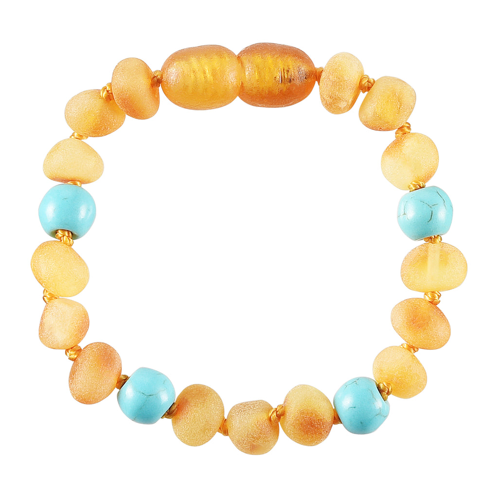 Baltic Amber Baby Bracelet - Raw Honey + Turquoise