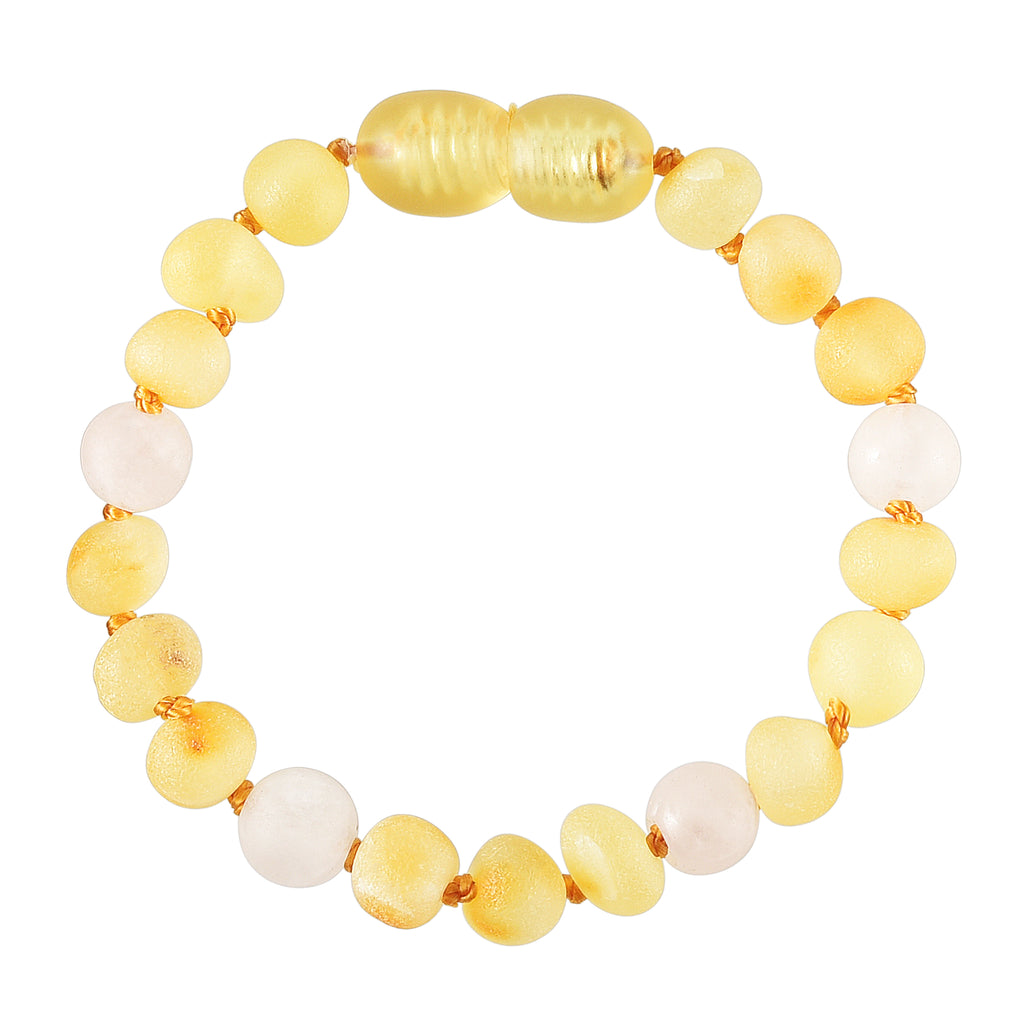 Baltic Amber Baby Bracelet - Raw Lemon + Matte Rose Quartz