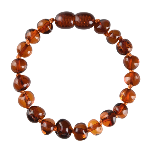 Baltic Amber Baby Bracelet - Polished Cognac
