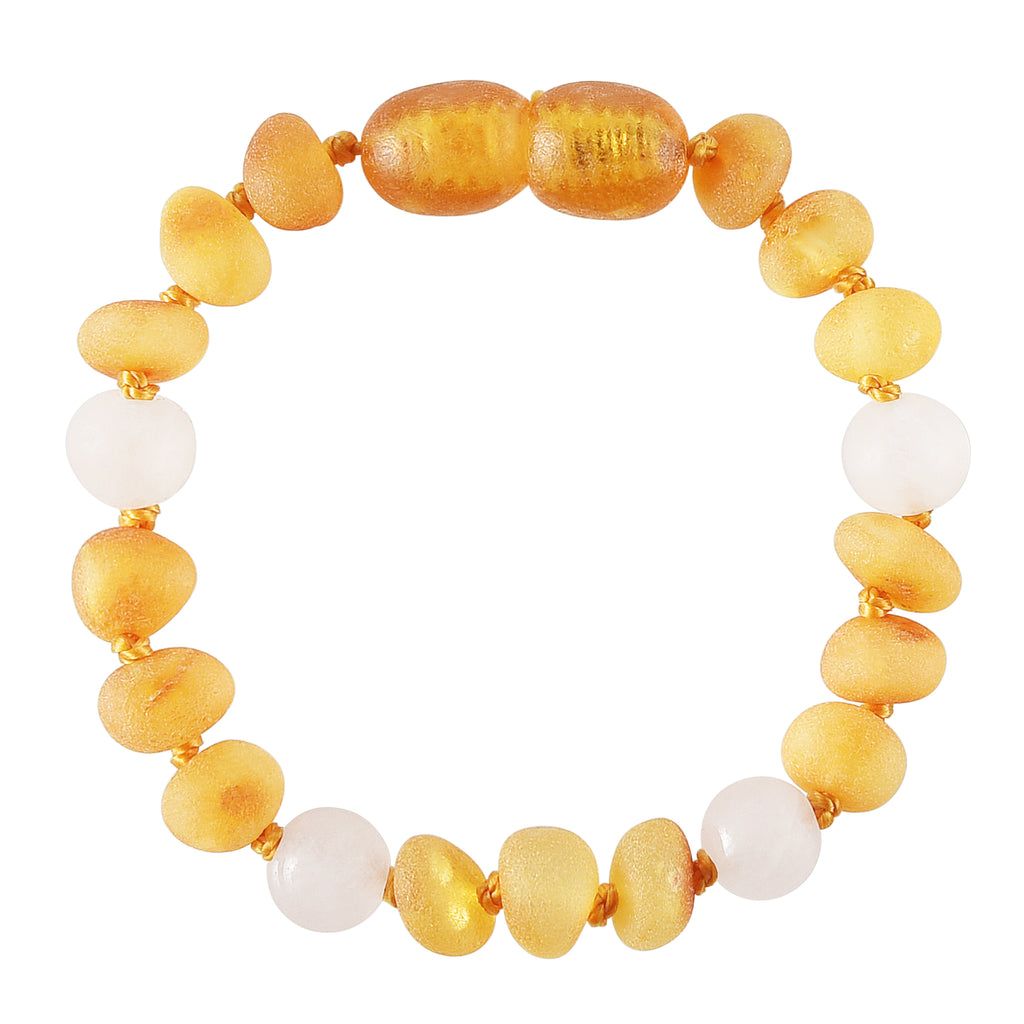 Baltic Amber Baby Bracelet - Raw Honey + Matte Rose Quartz