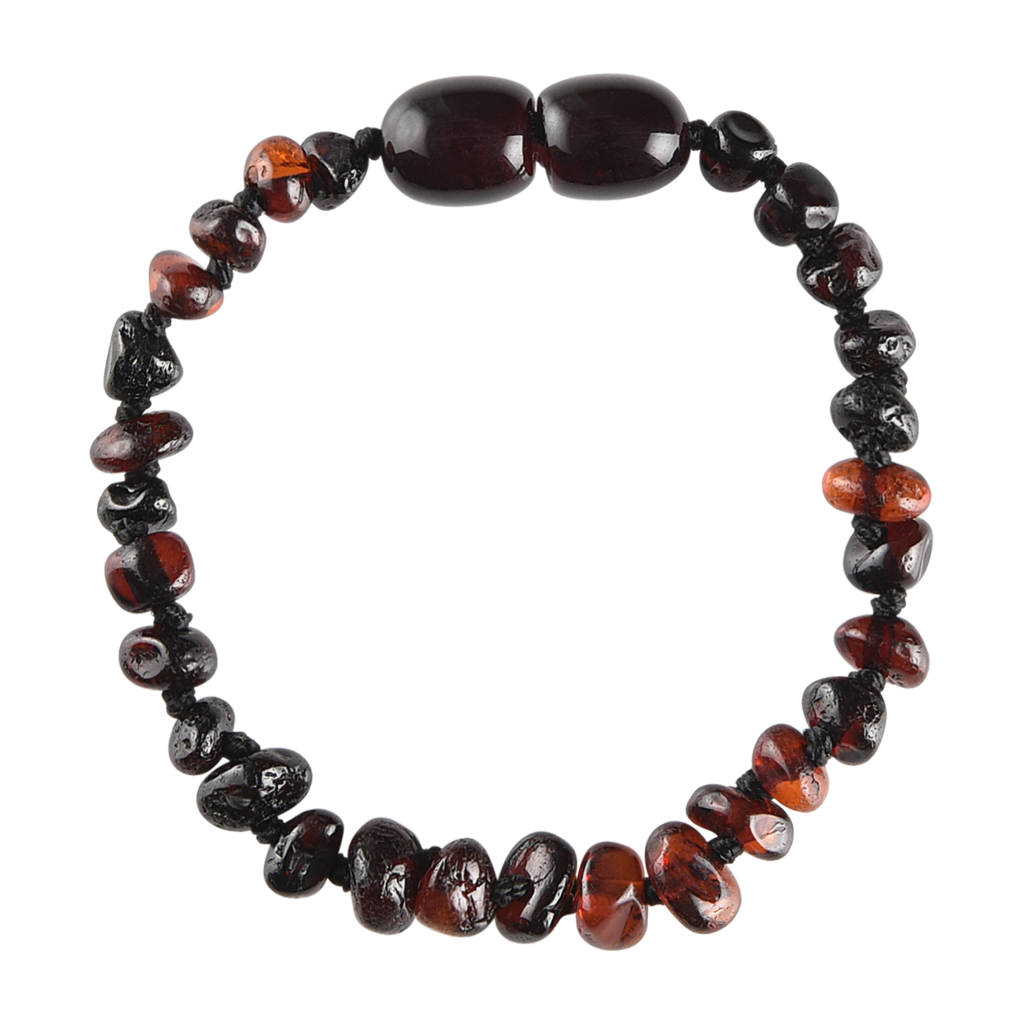 Baltic Amber Baby Bracelet - Polished Dark Cherry Chips