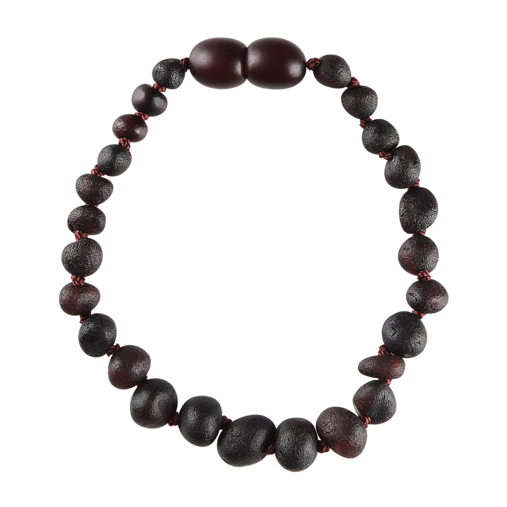 Baltic Amber Baby Bracelet - Raw Dark Cherry